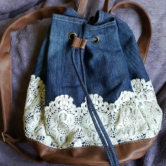 16a0e9e4aa Claire s Handbags - Cute backpack denim and lace